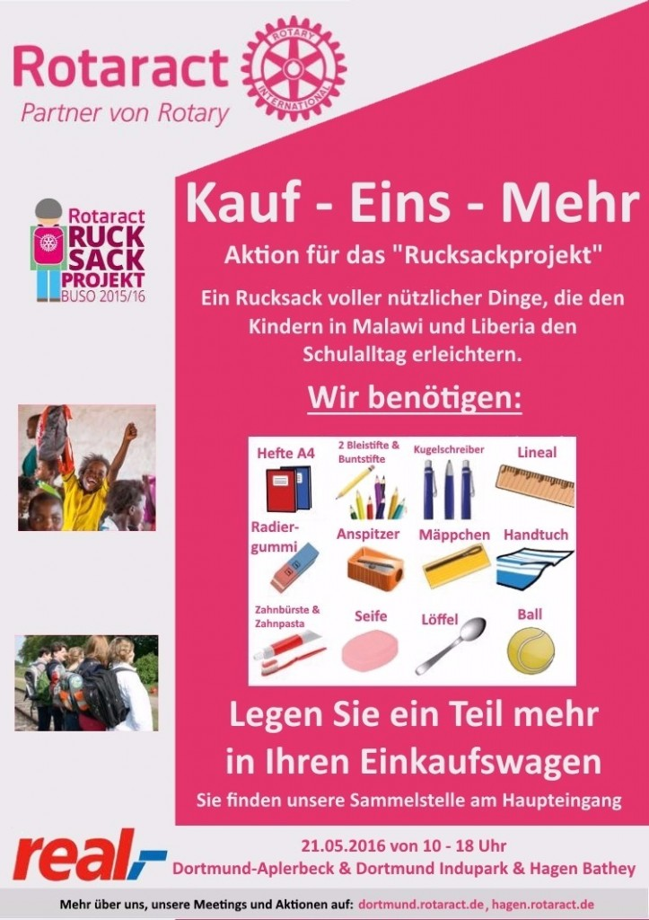 BUSO-Aktion: Buy One More in 3 REAL Märkten (DO-Indupark, DO-Aplerbeck, HA-Bathey) in Kooperation mit dem RAC Hagen @ Real-Märkte: DO-Indupark, DO-Aplerbeck, HA-Bathey